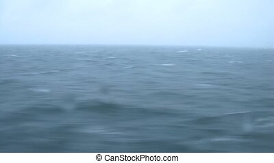 Sea waves, view from ships illuminator, time lapse