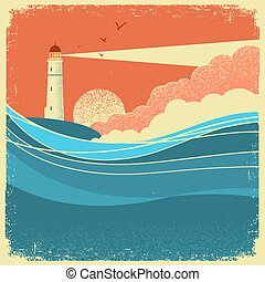Sea waves with lighthouse.Vintage nature poster of seascape