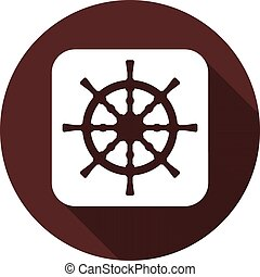 Sea wheel icon. White flat image on white square with long shadow