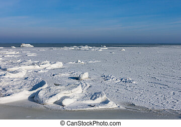 Sea winter with ice