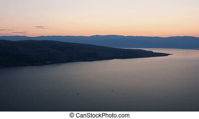 Sea with hills in sunrise, Croatia