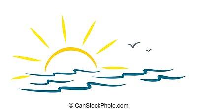 Sea with sun.