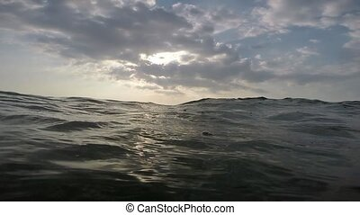 Sea with waves at sunset