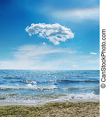 sea with weave and cloud in blue sky over it