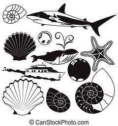 sea world black collection - Vector illustration of...