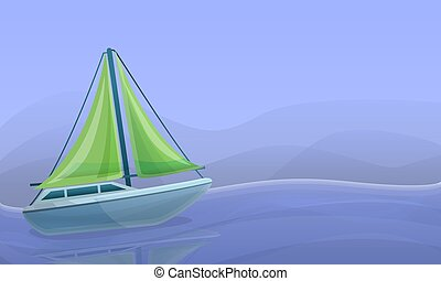 Sea yacht concept banner, cartoon style