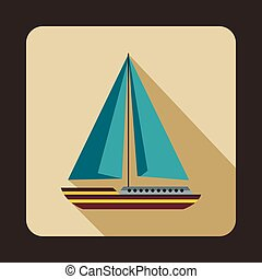 Sea yacht icon, flat style