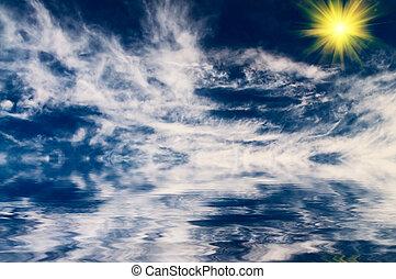 sea., zon, boven, zacht, mooi en gracieus