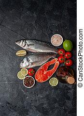 seabass, 魚, bord, dorado, 鮭, 新たに
