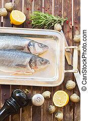 Seabass raw fish with frame of seasoning set