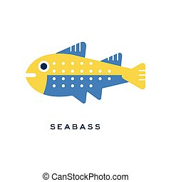 Seabass, sea fish geometric flat style design vector Illustration