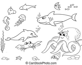 Seabed with marine animals object. Vector coloring for kids, cartoon.