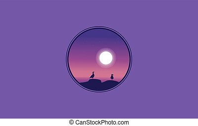 Seabird and moon scenery of silhouettes