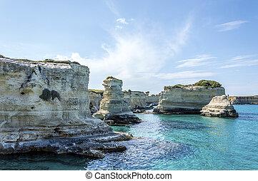 Seacoast of Torre Sant?Andrea Melendugno in Salento Italy -...