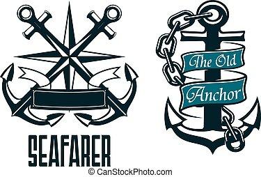 seafarer, ναυτικό , κηρυκείος , έμβλημα , και , σύμβολο