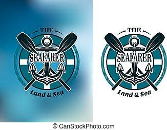 Seafarer badges with crossed oars