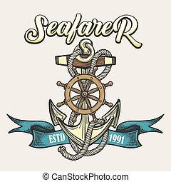 Seafarer Emblem in Tattoo style - Nautical vintage label,...