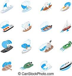 Seafarer icons set, isometric style - Seafarer icons set....