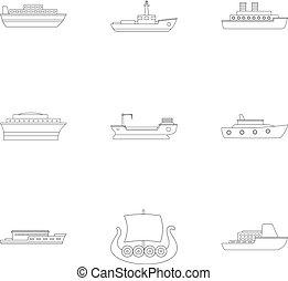 Seafarer icons set, outline style - Seafarer icons set....