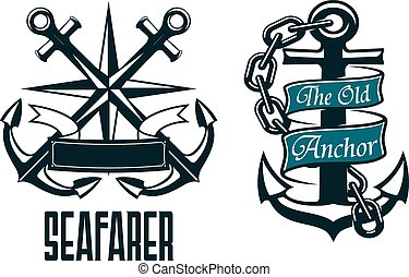 Seafarer marine heraldic emblem and symbol with ship...
