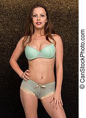 Seafoam lingerie - Petite young brunette in seafoam green...