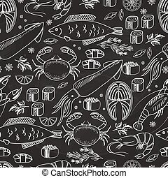 Seafood and fish chalkboard seamless background pattern on...