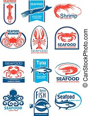 Seafood and fish symbol set for food design