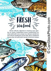 Seafood and freshwater fish sketch banner