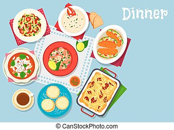 Seafood and pasta dishes icon for food design