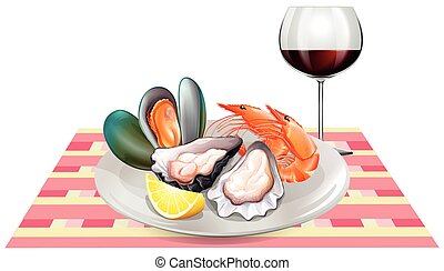 Seafood and red wine on table