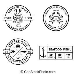 seafood, badge, etiket