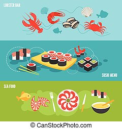 Seafood banner set with sea food lobster bar sushi menu...