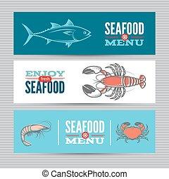 Seafood banners set