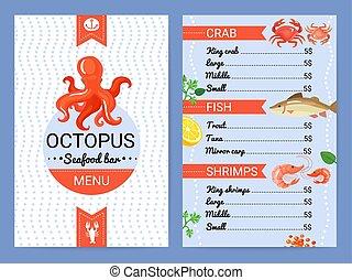 Seafood Bar Menu Flat Poster