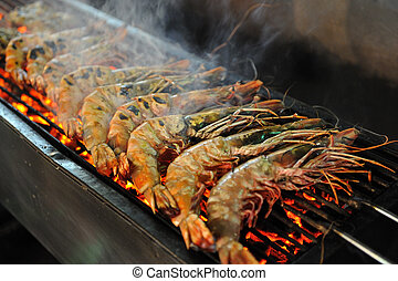 Seafood Barbecue - Tiger Prawn Barbecue at the night market...
