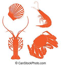 seafood:, camarão, lagostim, carangueijo, vieiras