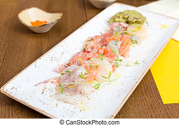 Seafood ceviche - Sea trout, scallops and shrimps with...