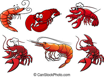 Seafood characters of shrimp, prawns and lobsters - Cartoon...
