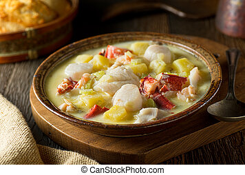 Seafood Chowder - A delicious hot bowl of homemade seafood ...