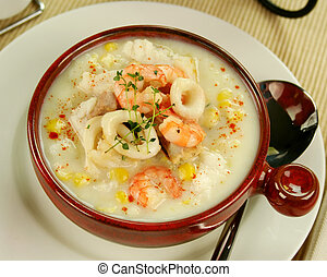 Seafood Chowder - Delicious thick and creamy seafood chowder...