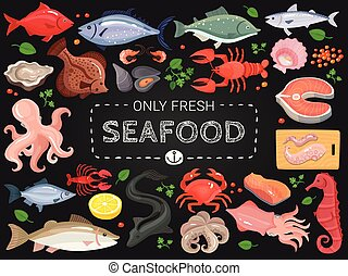 Seafood Colorful Chalkboard Menu Poster