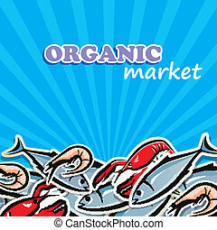 seafood., concepto, alimento orgánico, ilustración, vector