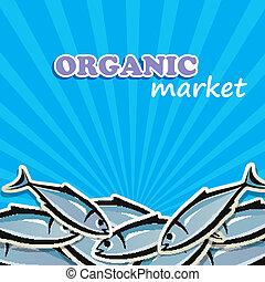 seafood., concetto, cibo organico, illustrazione, vettore
