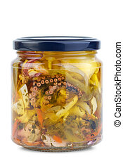 Seafood conserved in glass jar