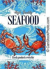 Seafood crab, ocean food products store sketch