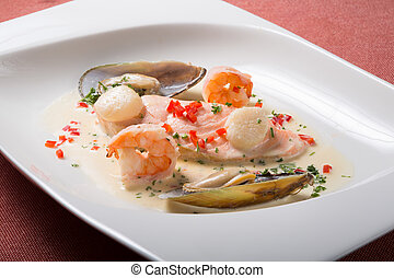 Seafood cream soup with shrimps