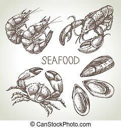 seafood., croquis, ensemble, illustration, main, vecteur,...