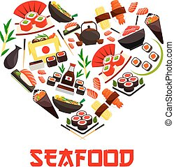 Seafood cuisine heart symbol with sushi icons