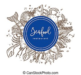 Seafood cuisine restaurant vector poster or menu