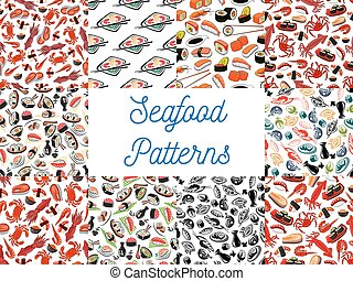 Seafood cuisine seamless patterns